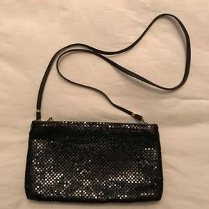 Whiting and Davis black mesh clutch with chain